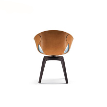 Poltrona Frau Ginger Leather Swivel Arm Chair