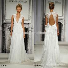 Charming Pnina Tornai 2014 A-Line Wedding Dress With Keyhole Back Deep V-Neck Cap Sleeve Long Lace Bridal Gown NB0664
