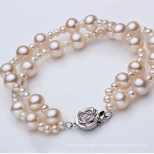 Fashion Double Strands Round Natural Pearl Bracelet Wholesale