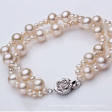 Fashion Double Strands Round Natural Pearl Bracelet Atacado