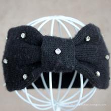 Forme la venda para el hairband hecho punto de las lanas de las mujeres con el diamante