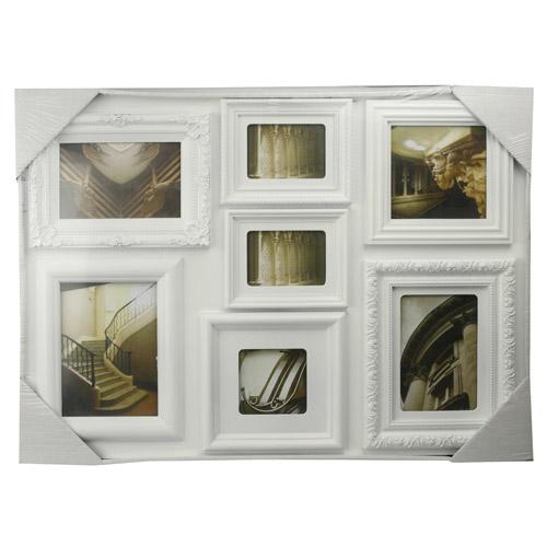 7 opening white collage frame marcos de fotos bilderrahmen