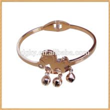 Ouro amarelo cavalo em forma de aço inoxidável pulseiras e braceletes para senhoras