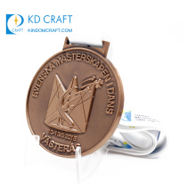 China manufacturer custom metal embossed 3d crown logo antique copper religious medal