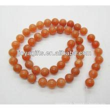 8MM forma redonda perlas de piedra aventurina rojo