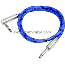 DBS Series Instrument Guitar Cable Jack 90° to Jack Blue Braided