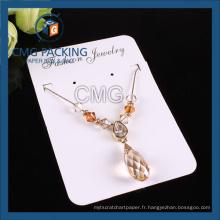 Carte personnalisée en carton blanc pour l'affichage de collier (CMG-110)