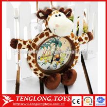 OEM de fábrica de peluche reloj animal cubierta de peluche animal reloj cubierta de jirafa en forma de cubierta de felpa