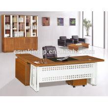 El diseño más último de la mesa de oficina del diseño, mesa de la oficina con la tapa de cristal, una mesa delantera y una tabla lateral, tamaño modificado para requisitos particulares
