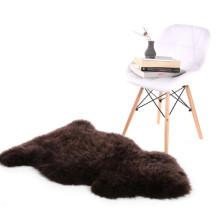 tapis de tapis en peau de mouton teint en polyester noir