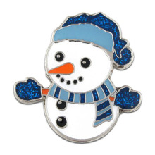 Europe style for Emblem Metal Badge Christmas Snowman Glitter Lapel Pin Made by Iron export to Russian Federation Exporter