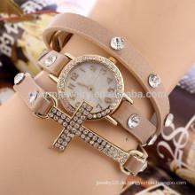 Kreuz Diamant Armband Uhr Damen Mode Studenten Uhr drei Kreise Großhandel BWL018