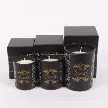 Diferentes tamaños de vela de vidrio de cera de soja perfumada