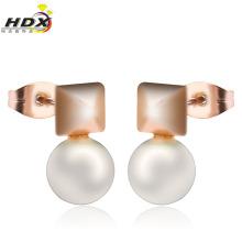 Joyería de moda de acero inoxidable perla pendiente