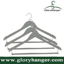 Alta qualidade cinza madeira terno / cabide pant com barra de bloqueio