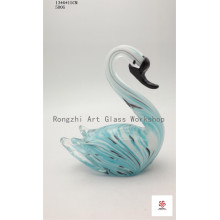 Colorful Swan with Black Beak Glass Sculpture