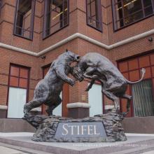 grandes sculptures de cuivre en plein air métal artisanat bear bull statue