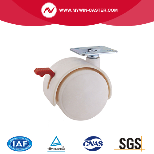 White PA Braked Furniture Caster