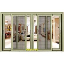 Customiezd Diseño doble de vidrio templado puerta corredera de aluminio con pantalla