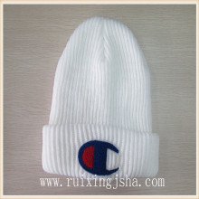 men's knitted Tufting embroidery logo beanie