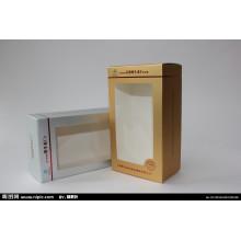 Caja plástica del embalaje del papel de ventana del diseño del color del contraste con la pajarita colgante