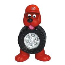 Perro perro de vinilo de juguete con productos para mascotas de neumáticos