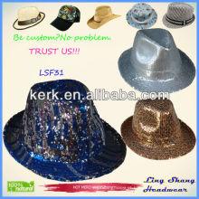 Mais novo estilo Sequins tecido Fedora chapéu / chapéu do partido algodão panama fedora chapéu, SF31