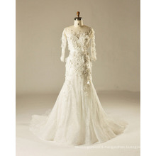 Full Sleeve Fit and Flare 3 D Flower Outdoor Wedding Gown