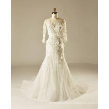 Полный рукав Fit и Flare 3 D цветок Открытый свадебное платье