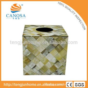 Caixa de tecido natural quadrado de boi de artesanato