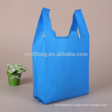 Promotion Blue Color Non Woven Custom Print Punch Bag T-Shirt Packaging Bags