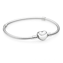 Sterling silver snake bone chain pave heart-shaped buckle s925 silver bracelet romantic base chain ValentDayine's  gift Pandora