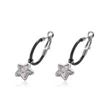 93750 design simple acier inoxydable bijoux charme étoile en forme de clip sur les boucles d'oreilles