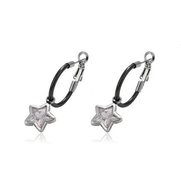 93750 Diseño simple Joyas de acero inoxidable con forma de estrella y clip en pendientes