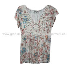Women's Printed Blouses with Embroidery, 100% Rayon