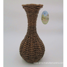 Personlized Products for Handle Flower Basket Weaving Handicraft Round Plastic Rattan Flower Vase export to Poland Factory