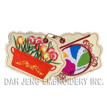 Flower Embroidered Luggage Tag for Storing Bus Card Holder