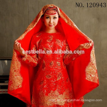 Plus Size Arabic Lace Langarm Gelinlik Türkisch Muslim Red Hijab Brautkleid