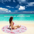 Thick Round Beach Towel Blanket - Microfiber Terry Beach Roundie Circle Yoga Mat With Fringe,High Color fastness-flamingos