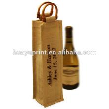 Saco de garrafa de vinho saco de vinho de juta lona de algodão não tecido