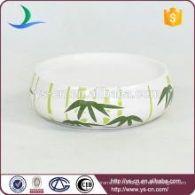 YSb40063-06-sd accessoires de salle de bains en céramique avec plateau en bambou