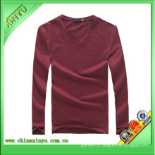 T-shirt à manches longues à manches longues de haute qualité V Neck Slim Fit pour homme