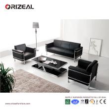 Sofá de cuero de diseño contemporáneo Orizeal, sofá de oficina de tres plazas (OZ-OSF004)