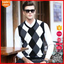 Modelo vendedor caliente del suéter del argyle del chaleco del trabajo de la ropa interior de los hombres