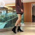 2021 malha de salto alto com botas de tecido de microfibra