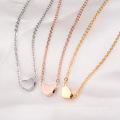 Exquisite Muttertag Geschenkideen 18K Rose Gold Plating Charm Herz Anhänger Halskette