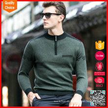 Suéter de cachemira mens de moda media suéter de cachemira verde collar medio