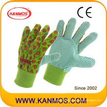 Impresión de flor de perforación de algodón de tela de jardín Guantes de trabajo de seguridad industrial (41006)