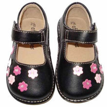 Black Toddler Girl Squeaky Shoes with Small Pink Flowers