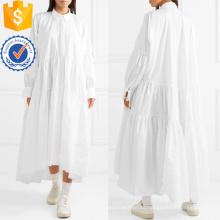Ajuste solto de grandes dimensões branco manga comprida de algodão Miaxi Vestido de verão Fabricação Atacado Moda Feminina Vestuário (TA0314D)